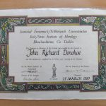 Diploma from Irish/Swiss Institute of Horology